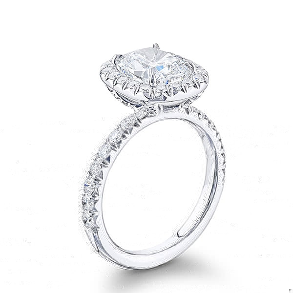 cushion cut diamond hidden halo ring in platinum with micro pave settings