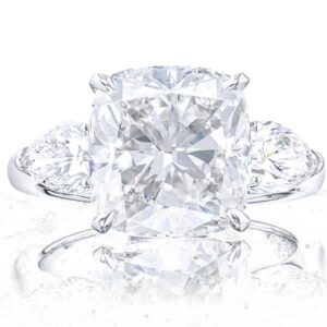 Three Stone Cushion Diamond Rings with Pear Cut Side Stones