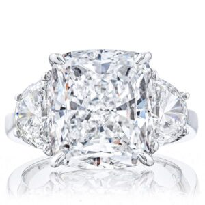 Three Stone Cushion Diamonds Rings with Brilliant Half Moon Side Stones