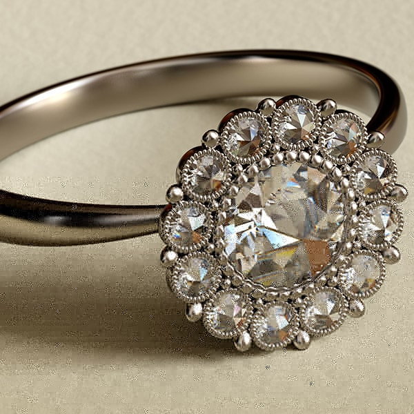 antique rose cut diamond ring in edwardian style