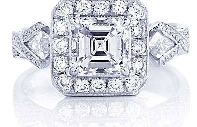 edwardian diamond engagement ring with square emerald and kite side stones in micro pave settings