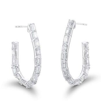 emerald cut and tapered baguette hoop earrings