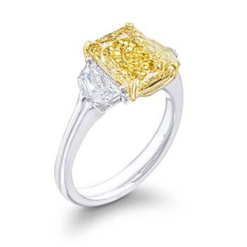 fancy yellow radiant cut with epaulet side stone diamonds three stone ring