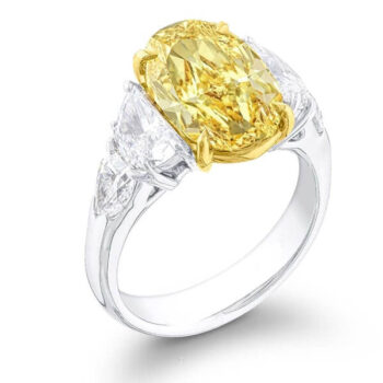 five stone fancy yellow oval diamond engagement ring with half moon and shield side stones