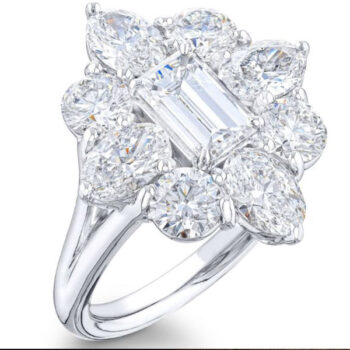 floral emerald cut diamond center ring with round and oval diamonds1