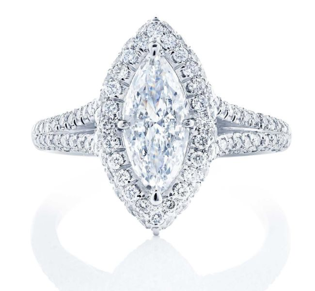 split shank marquise ring in pave settings and platinum