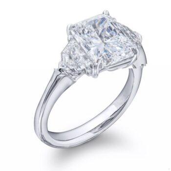 three stone diamond engagement ring with radiant center stone and epaulet cut diamonds (1)