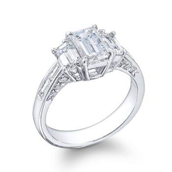 three stone eternity cut diamond engagement ring