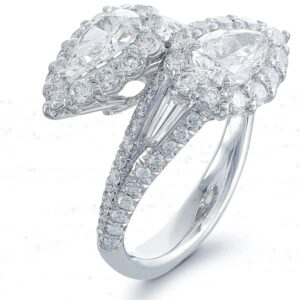 toi et moi bypass pear shaped ring in platinum and micro pave