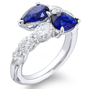 toi et moi two stone ring with pear shaped sapphires with round and oval diamonds