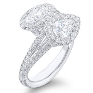 two stone diamond ring with pear and oval cut surrounding pave settings