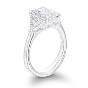 3 stone diamond engagement ring with trilliant cut side stone diamonds and radiant center