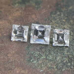 Carre Cut Three Stone Diamond Loose Selection