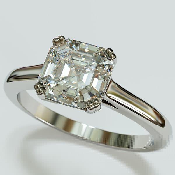 asscher cut diamond solitaire ring