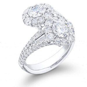 bezel micro pave brilliant round cut two stone diamond ring