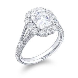 elongated cushion cut diamond engagement ring with round pave