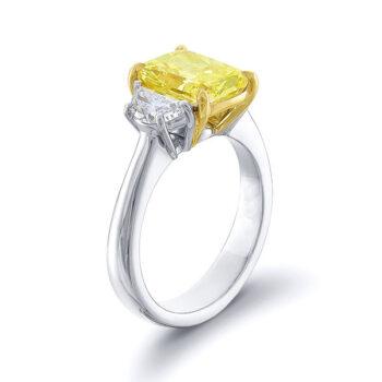 fancy yellow cushion diamond and half moon side stones