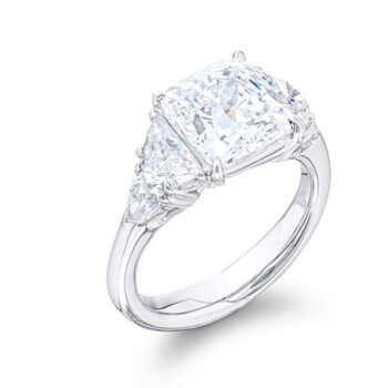 five stone engagement ring with cusion center diamond half-moon and shield diamond side stones