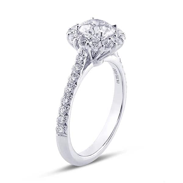 hidden halo engagement ring with brilliant round cut diamond and micro pave settings