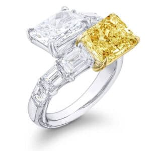 light radiant cut diamond and colorless radiant toi et moi ring