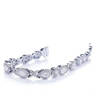 marquise pear shape and round diamond linked pave bracelet in platinum
