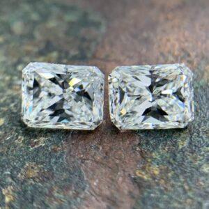 matching pairs of rectangular radiant cut diamonds