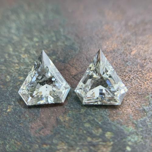 matching pairs of superman shield cut diamonds