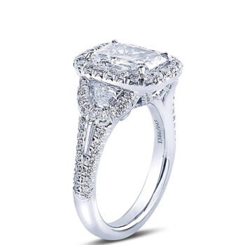 micro pave diamond engagement ring with emerald cut center stone half moon and tapered baguette side stones1