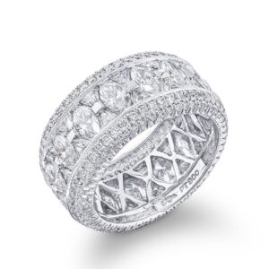 micro pave eternity band with trillion and marquise cut diamonds
