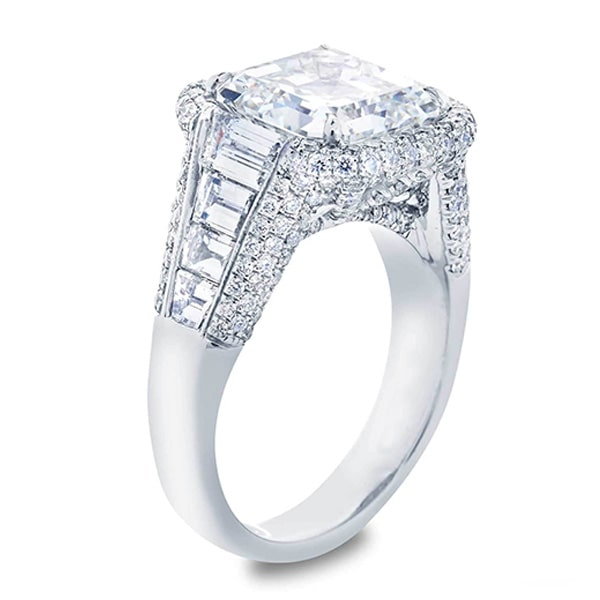 micro pave square emerald center diamond with step cut trapezoid side stones