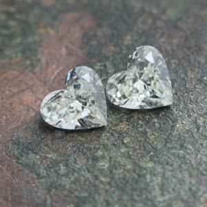 pairs of heart shaped diamonds