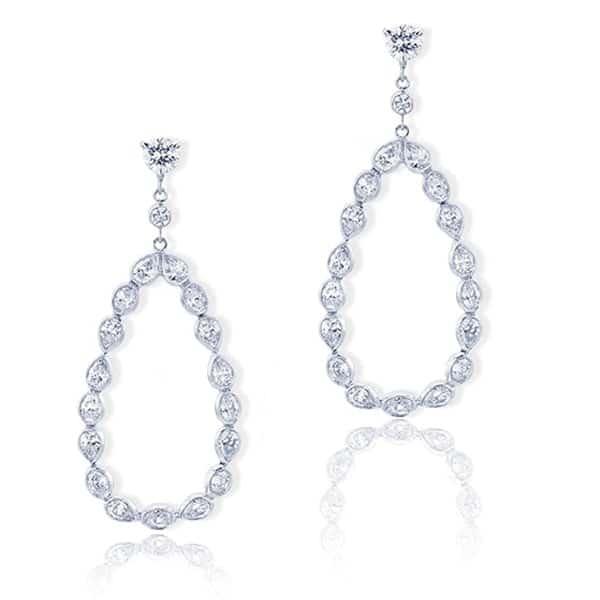 pear and oval cut hoop diamond earrings
