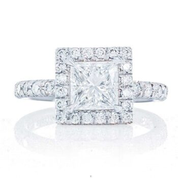 princess cut diamond engagement ring with micro pave