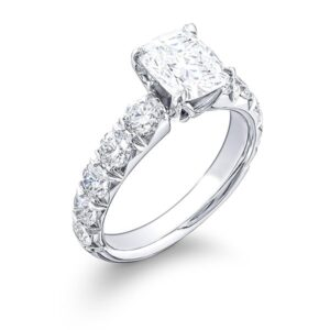 square cushion cut diamond engagement ring with brilliant round cut on band
