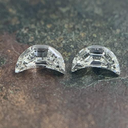 step cut half moon diamonds matching pairs