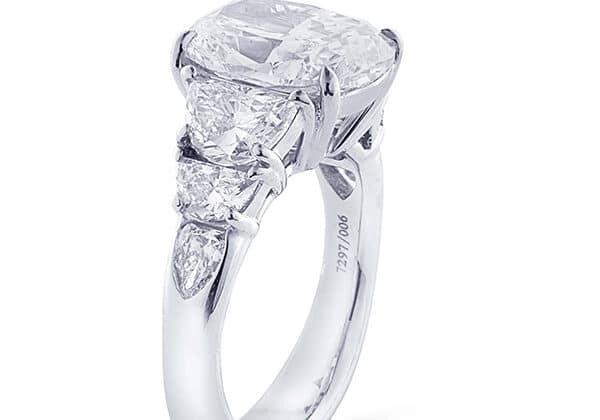 three stone cushion cut diamond engagement rings