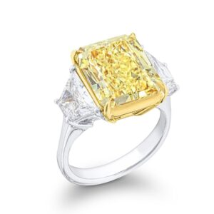 three stone diamond ring with trapezoid brilliant matching pairs and fancy yellow radiant cut