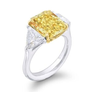 three stone fancy yellow radiant ring with trilliant matching pair side stone diamond