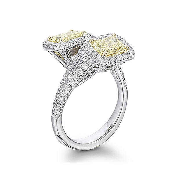 toi et moi fancy yellow radiant cut and tapered baguette ring in micro pave