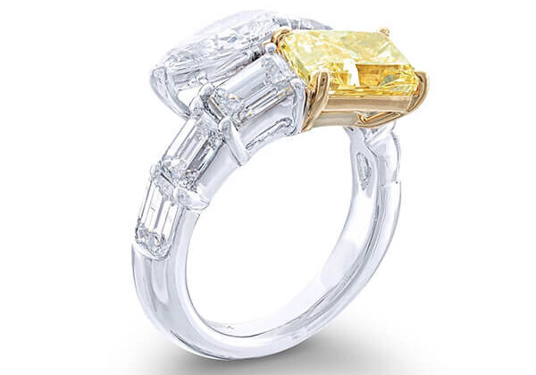 toi et moi ring with fancy yellow radiant and pear shaped