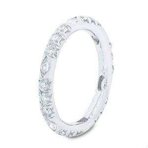 marquise and round diamond eternity band in platinum