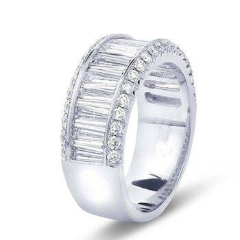 tapered baguette wedding band with micro pave