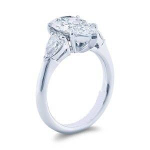 three stone pear cut diamond engagement ring in platinum